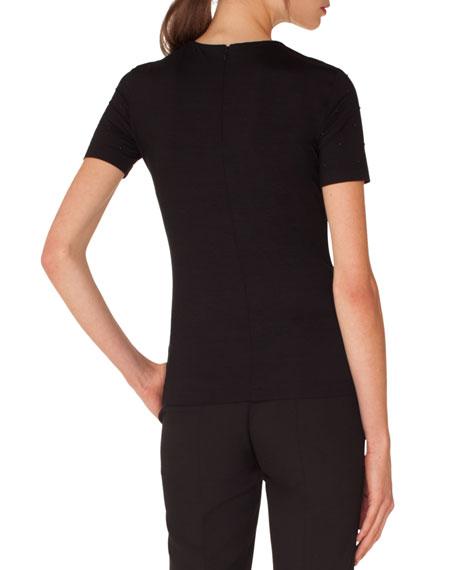 Crewneck Short-Sleeve Studded Jersey Top