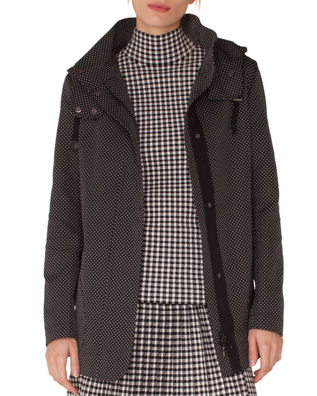 Pindot Jacquard Zip-Front Parka Jacket with Detachable Hood