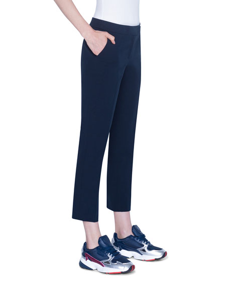 Akris punto Frankie Straight-Leg Cotton-Stretch Cropped Pants