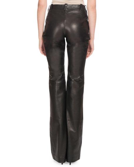 High-Rise Boot-Cut Calf Leather Pants