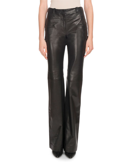High-Rise Boot-Cut Calf Leather Pants, Black