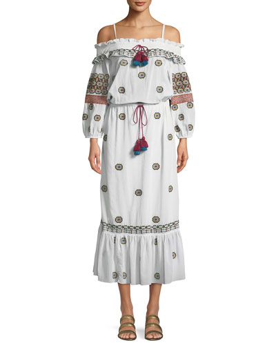 Helens Off-the-Shoulder Embroidered Cotton Voile Dress