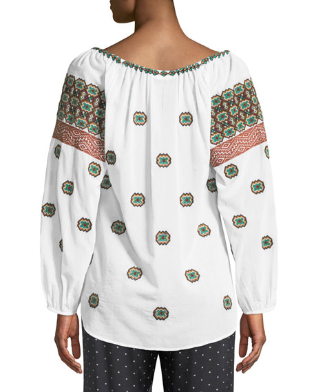 Boat-Neck Embroidered Cotton Voile Peasant Top w/ Tassel Ties