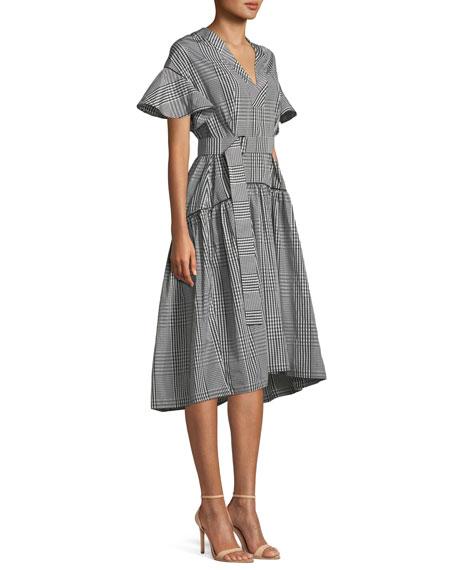 V-Neck Flutter-Sleeve Plaid A-Line Dress w/ Self-Belt