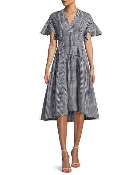 Lela Rose V-Neck Flutter-Sleeve Plaid A-Line Dress w/
