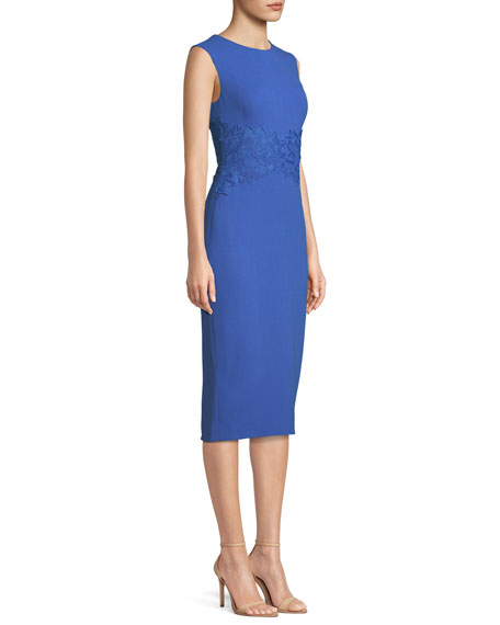 Sleeveless Crewneck Fitted Sheath Dress w/ Lace