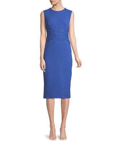 Sleeveless Crewneck Fitted Sheath Dress w/ Lace
