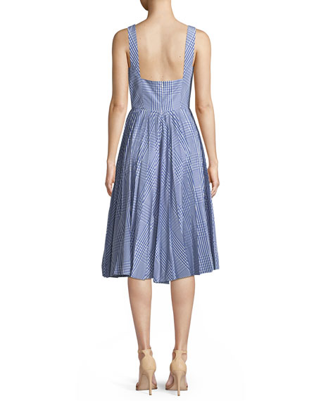 Square-Neck Sleeveless Plaid Fit-and-Flare Dress