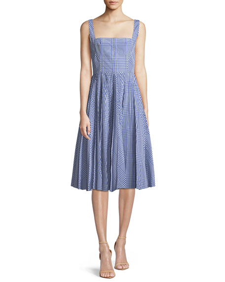 Lela Rose Square-Neck Sleeveless Plaid Fit-and-Flare Dress