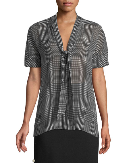 Short-Sleeve Tie-Neck Plaid Chiffon Blouse