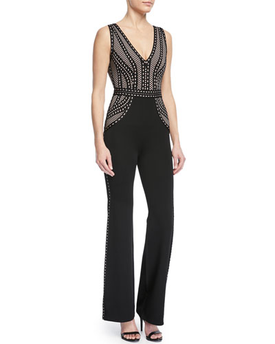 Deep-V Sleeveless Straight-Leg Jumpsuit