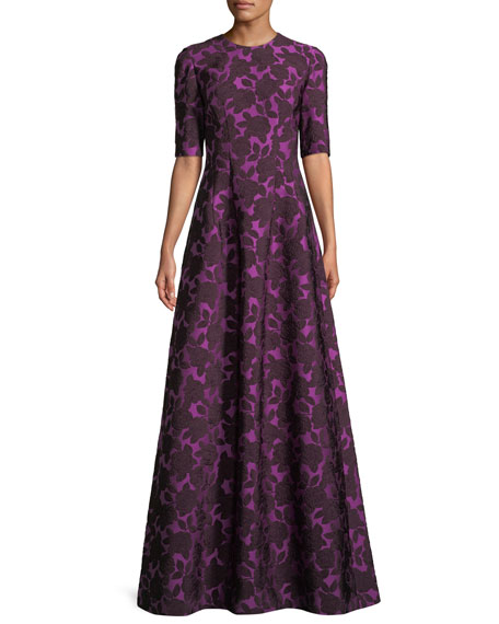 Holly Floral-Jacquard Elbow-Sleeve A-Line Evening Gown