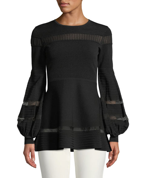 Lela Rose Full-Sleeve Knit Top w/ Lace Trim