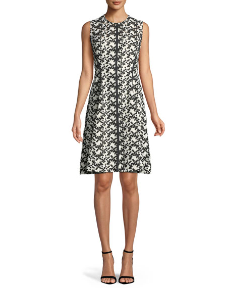 Lela Rose Dotted Floral-Lace Fit-and-Flare Dress