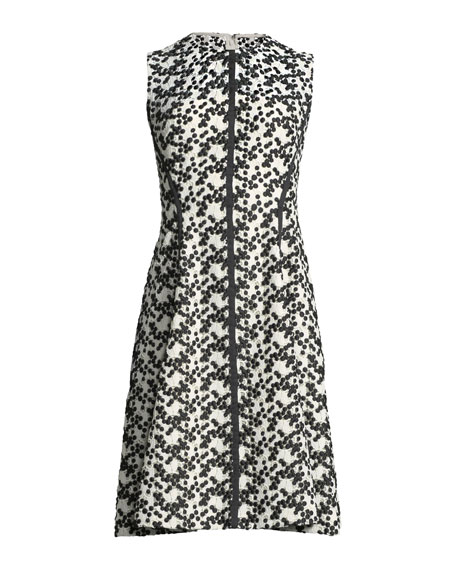 Dotted Floral-Lace Fit-and-Flare Dress