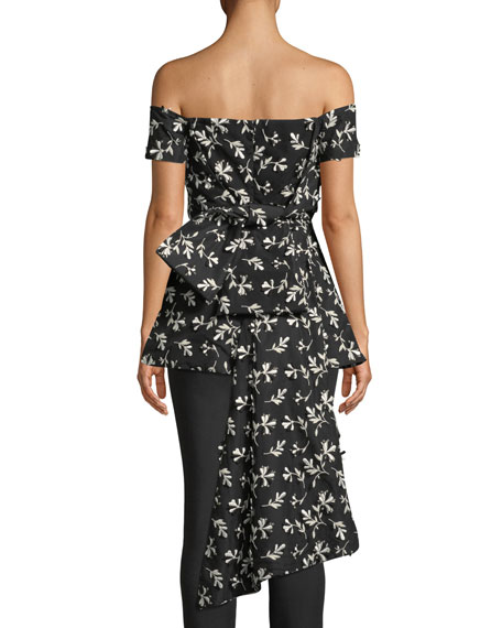 Off-the-Shoulder Bow-Back Floral-Embroidered Top