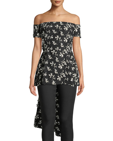 Lela Rose Off-the-Shoulder Bow-Back Floral-Embroidered Top