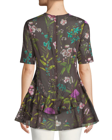 Floral-Print Short-Sleeve Cotton Top w/ Ruffle Hem