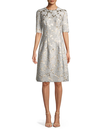 Holly Floral-Jacquard Elbow-Sleeve A-Line Dress