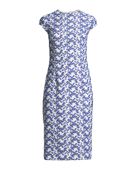 Cap-Sleeve Dotted Floral-Lace Fitted Sheath Dress