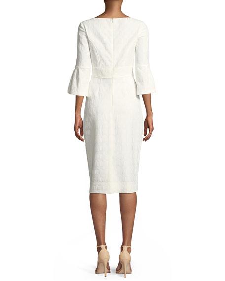 Flutter-Sleeve Fitted Jacquard Sheath Dress