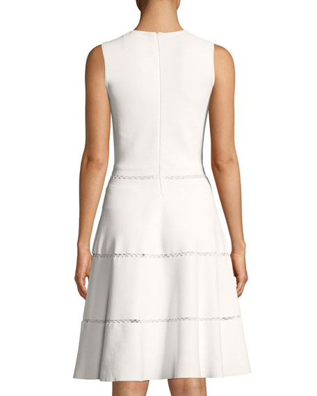 Sleeveless Fit-and-Flare Knit Dress with Cross-stitch Trim