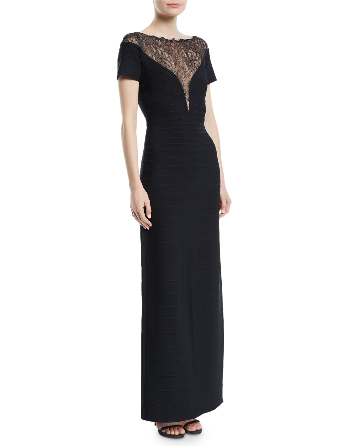 Herve Leger Short-Sleeve Bandage Column Evening Gown with Lace Inset ...