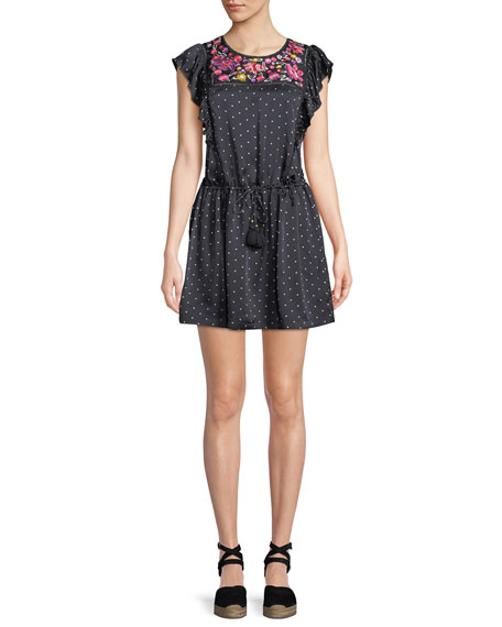 Figue Theresa Aztec-Dot Floral-Embroidered Bib Cap-Sleeve Silk