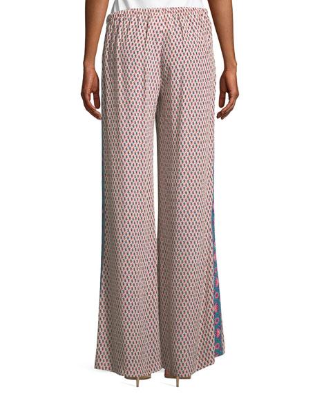 Estela Khalo Floral-Print Wide-Leg Silk Pants