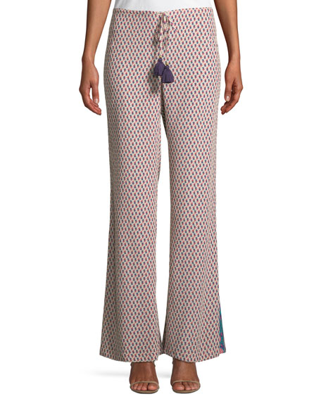 Figue Estela Khalo Floral-Print Wide-Leg Silk Pants