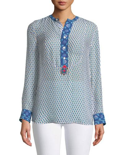 Long-Sleeve Floral-Print Silk Georgette Shirt