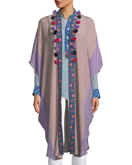 Figue Katia Mixed-Print Silk Kimono w/ Pompoms
