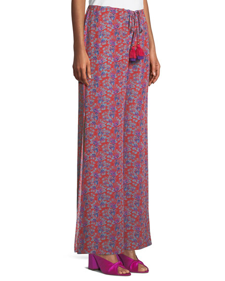 Ipanema Fridas Wallpaper Floral-Print Wide-Leg Silk Pants
