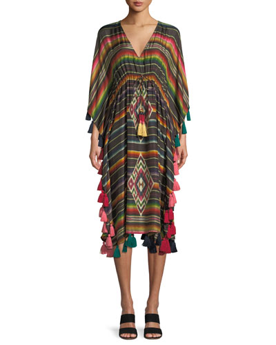 Amirta V-Neck Long-Sleeve Striped Silk Kaftan