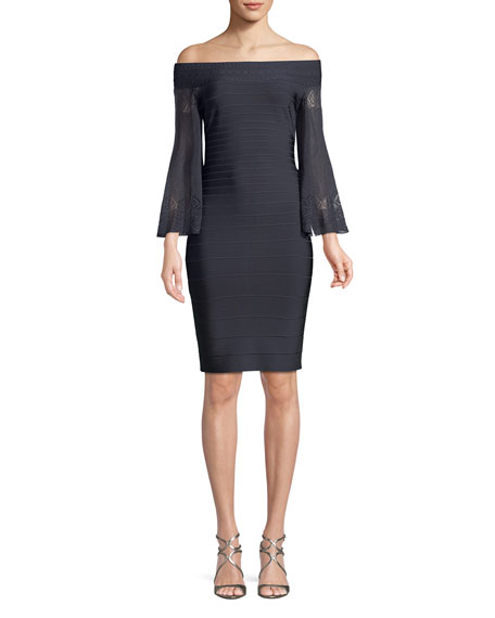 Off-the-Shoulder Bandage Cocktail Dress with Knit Arms