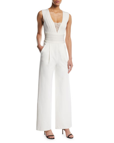 Sleeveless Deep-V Lace-Inset Wide-Leg Jumpsuit