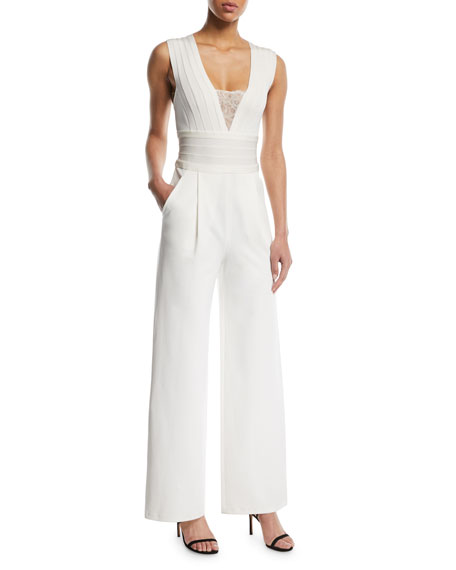 Herve Leger Sleeveless Deep-V Lace-Inset Wide-Leg Jumpsuit