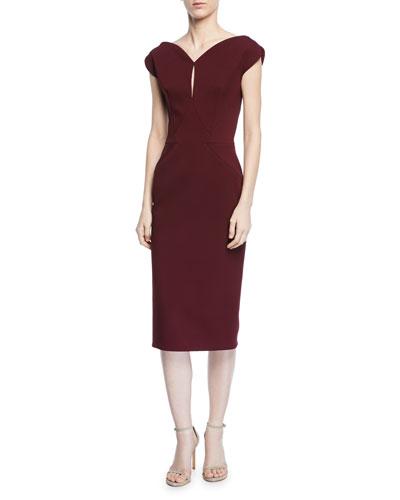 Keyhole Cap-Sleeve Sheath Cocktail Dress