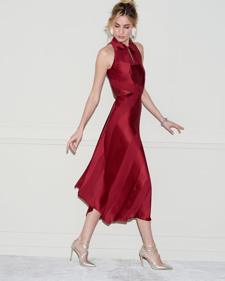 Sleeveless Bias-Cut Cocktail Dress