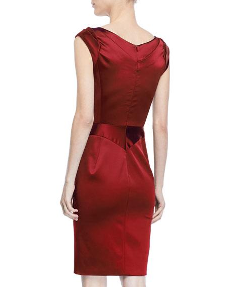 V-Neck Satin Sheath Dress