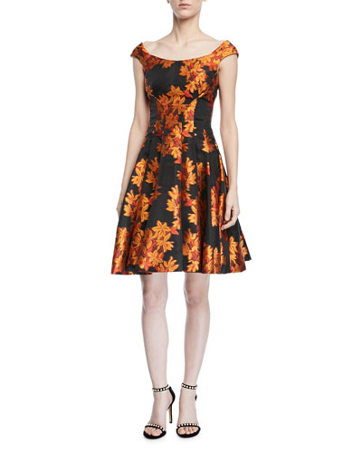 Transparent Jacquard Fit-and-Flare Dress