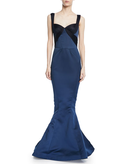 Zac Posen Double Faced Duchess Gown w/ Gathered
