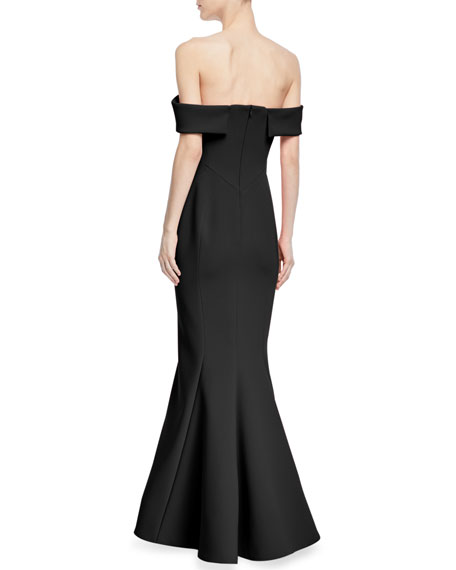Bonded Crepe Off-the-Shoulder Gown