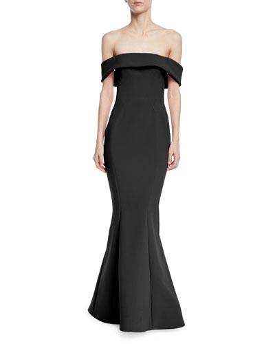 Bonded Crepe Off-the-Shoulder Gown
