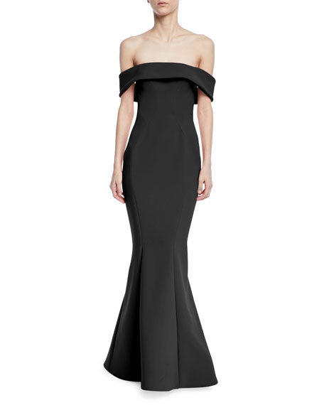 Zac Posen Bonded Crepe Off-the-Shoulder Gown