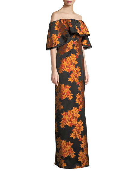 Off-the-Shoulder Floral Popover Cocktail Gown