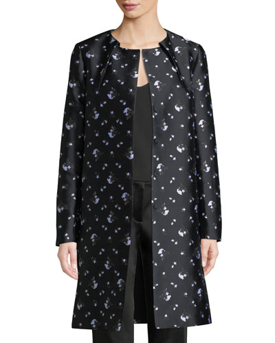 Button-Front Winter-Rose Jacquard Evening Jacket