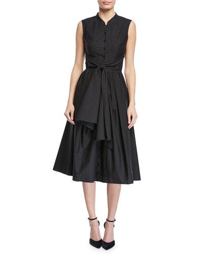 Floral Tie-Front Sleeveless Shirt Dress