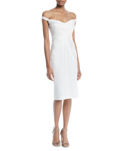 Off-the-Shoulder Pleated Sheath Cocktail Dress