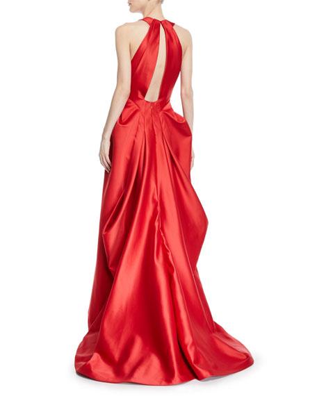 Deep V-Neck Full-Skirt Gown